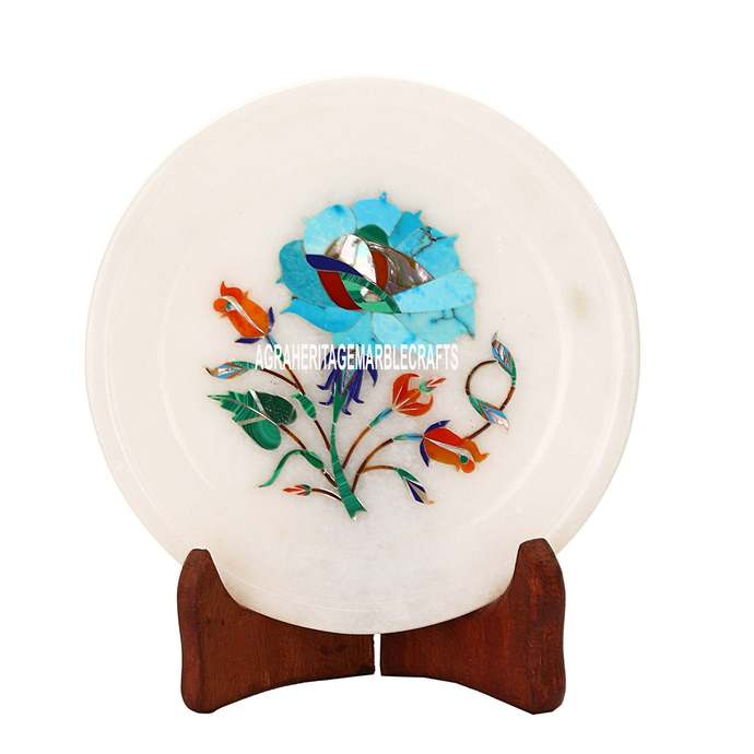 White Marble Small Customized Plate Turquoise Inlay Stone Floral Arts Kitchen