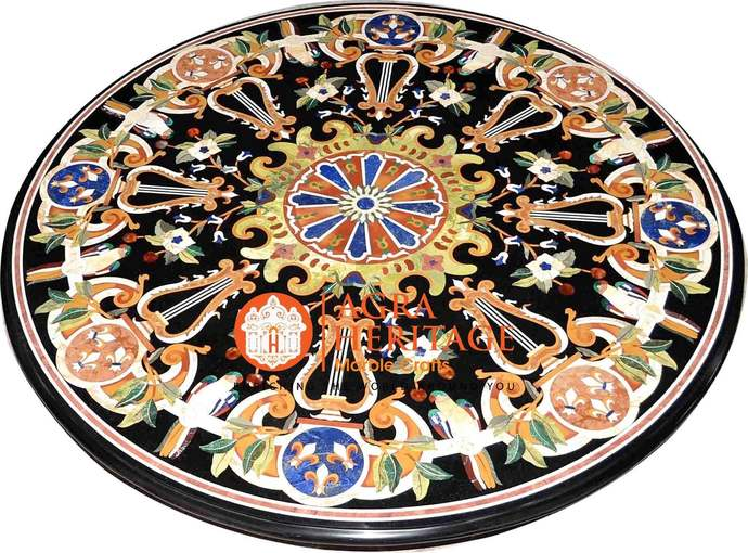 """43"""" Black Marble Round Decorative Dining Table Top Marquetry Lapsi Stone Art"""