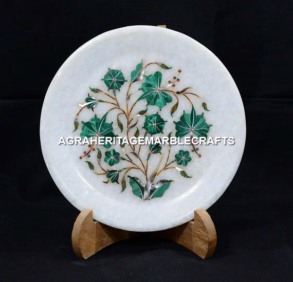 Decorative Marble Small Serving Plate Marquetry Floral Art Housewarming Gift