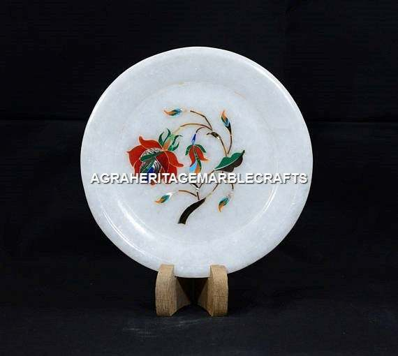 "White Marble Small Plate Handicraft Floral Tajmahal Design Home Decor | 5""x5"""