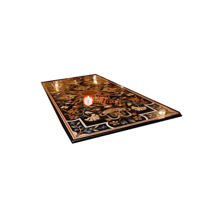 """56""""x28"""" Black Marble Decorative Center Table Top Marquetry Inlay Art Decor"""