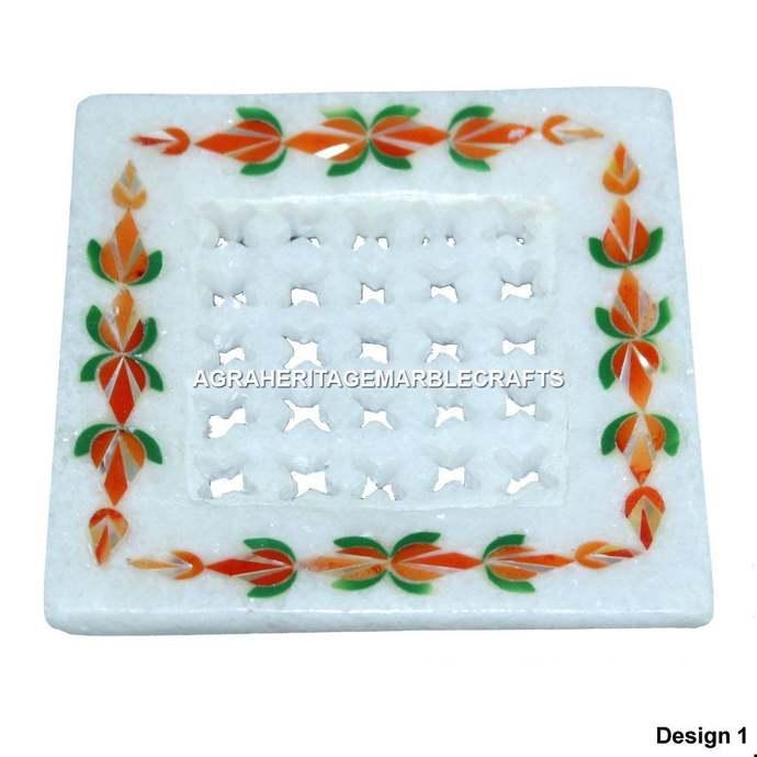 White Filigree Marble Soap Dish Hakik Malachite Inlay Floral Arts Bathroom