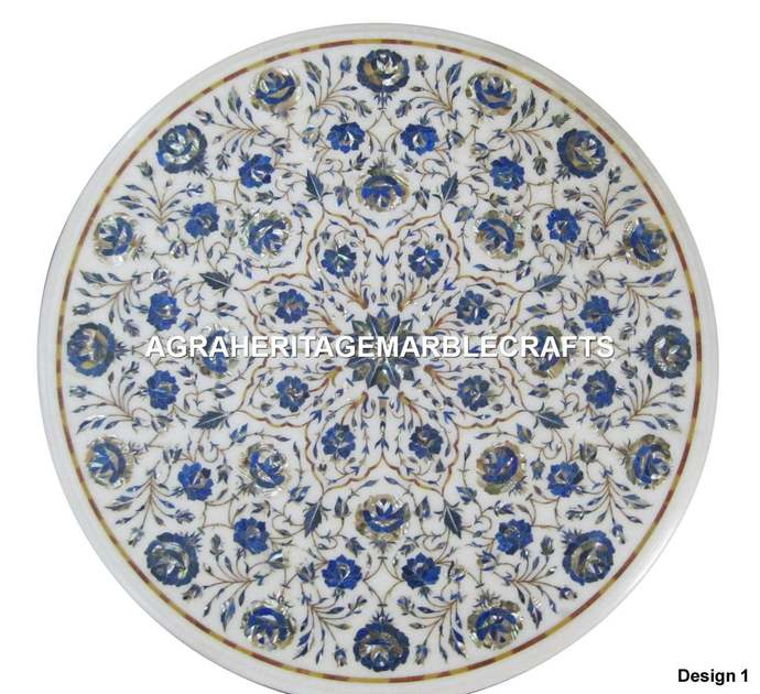Marble Round Coffee Table Top Lapis Lazuli Inlay Floral Handicraft Design