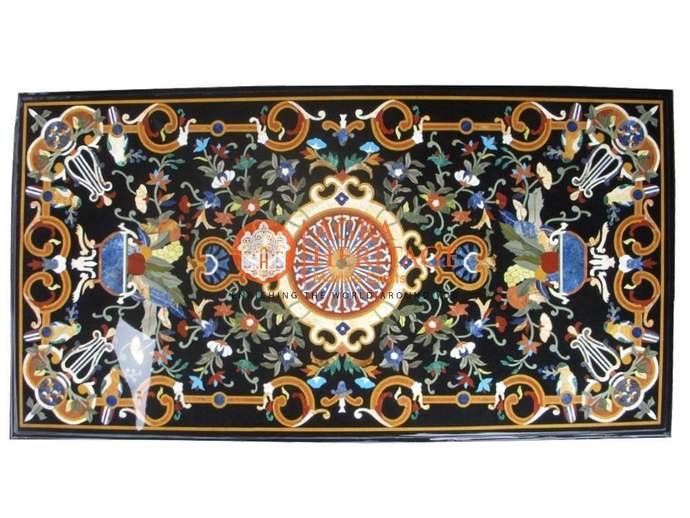 Marble Black Center Dining Table Top Marquetry Lapis Lazuli Carnelian Inlay