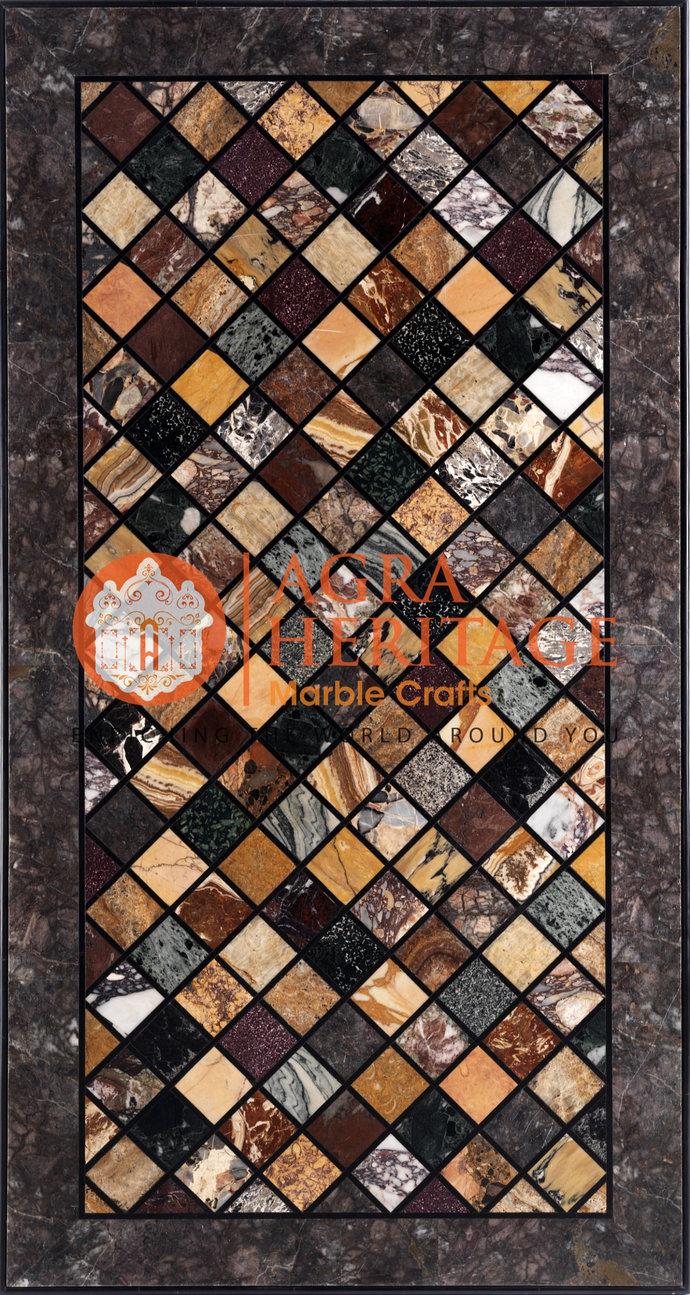 Black Marble Dining Center Inlay Table Top Handicraft Mosaic Inlay Design