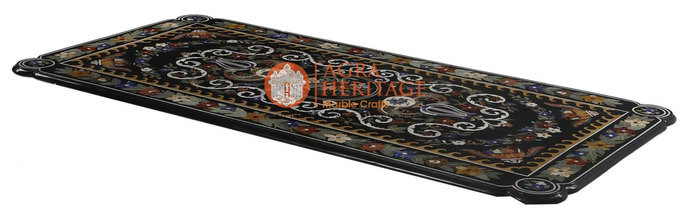 Marble Black Conference Center Dining Table Top Pietra Dura Inlay Marquetry