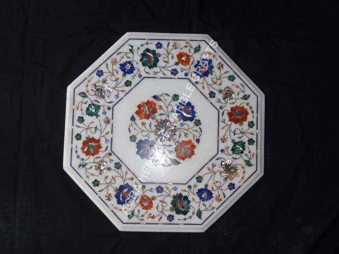 Marble Top Coffee Table Multi Marquetry Inlay Design Outdoor Home Wedding Gift