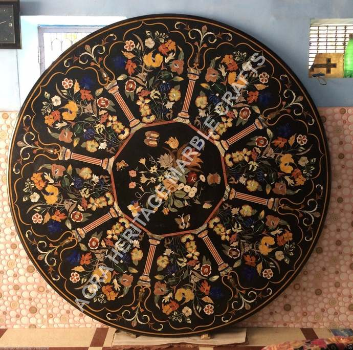 Exclusive Black Marble Round Big Dining Table Top Floral Butterfly Inlay Design