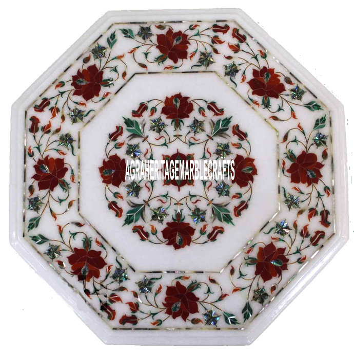White Marble Top Coffee Octagon Table Top Carnelian Inlay Floral Design