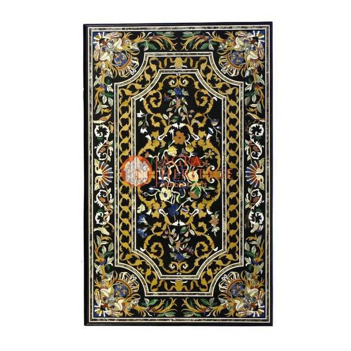 Marble Dining Center Inlay Table Top Handicraft Marquetry Design Home Decorative