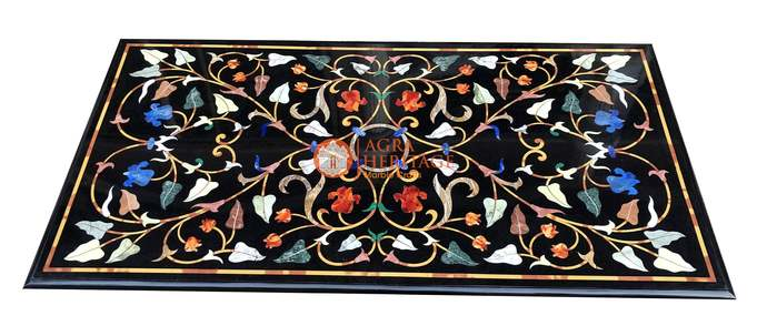 Marble Dining Hallway Center Table Top Marquetry Handicraft Floral Inlay Living