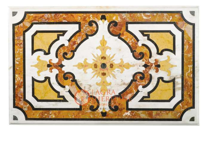 White Marble Center Table Top Marquetry Carnelian Art Hallway Decor