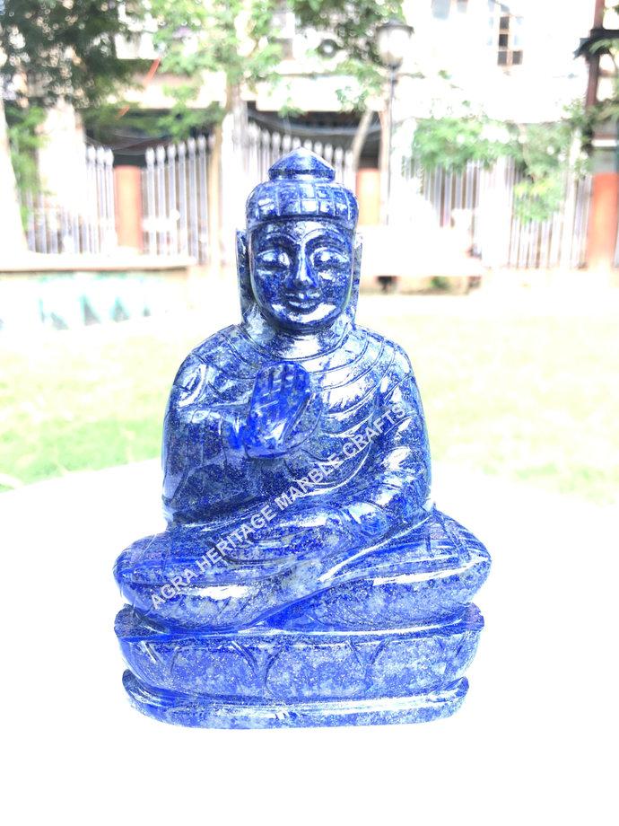 Blue Lapis lazuli Stone Buddha Statue Hand Made Buddhist Figurine Natural Idol