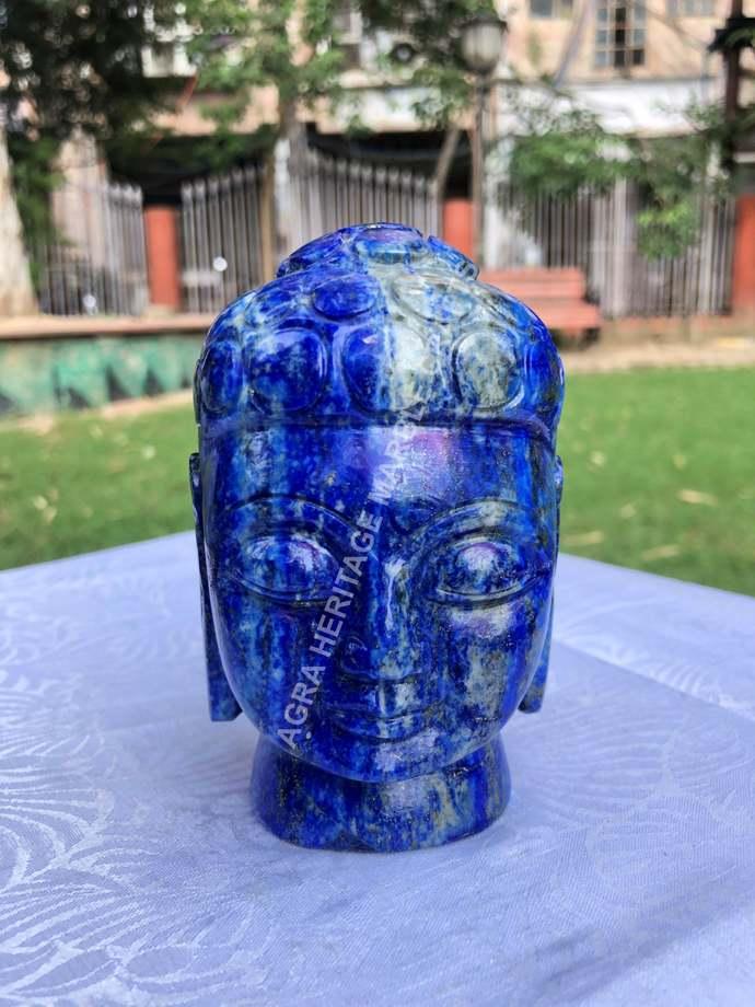 Big Blue Lapis lazuli Semi Precious Buddha Head Hand Craved Buddhist Figurine