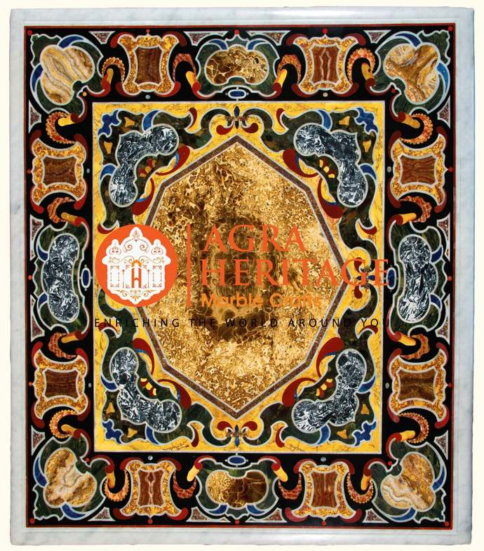 Marble Decorative Center Marquetry Table Top Collectible Handmade Historical Art
