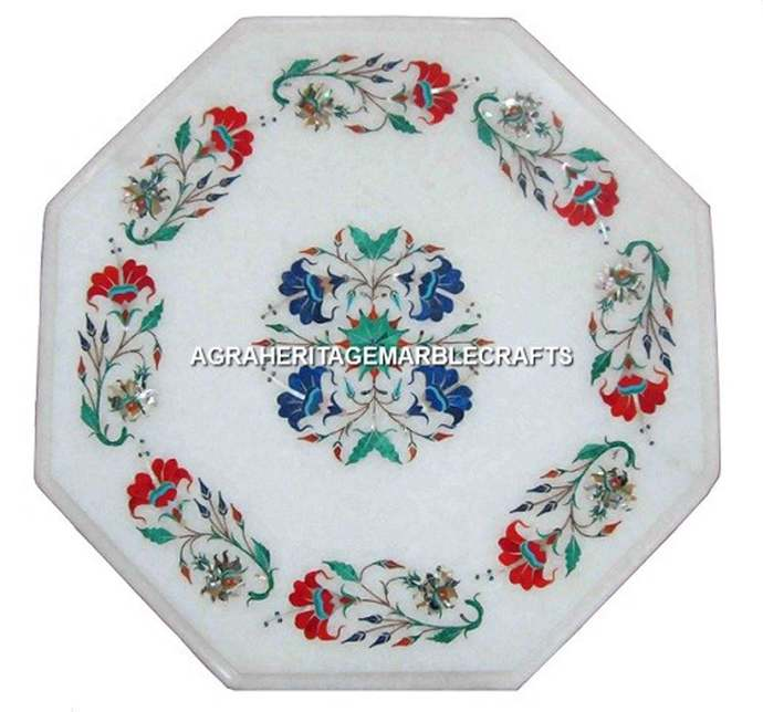 """White Marble Top Coffee Outdoor Table Top 15"""" Marquetry Floral Inlay Furniture"""