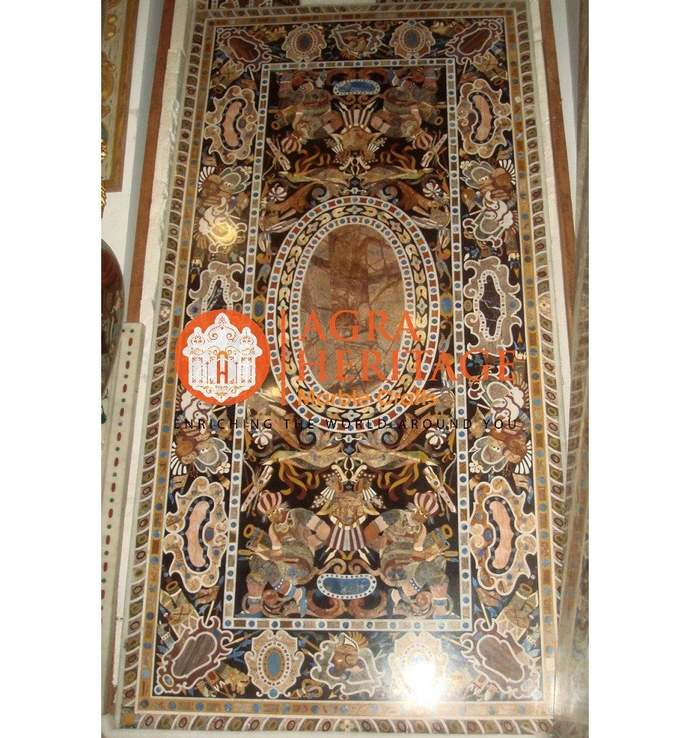 Marble Conference Dining Table Top Pietra Dura Inlay Handicraft Design