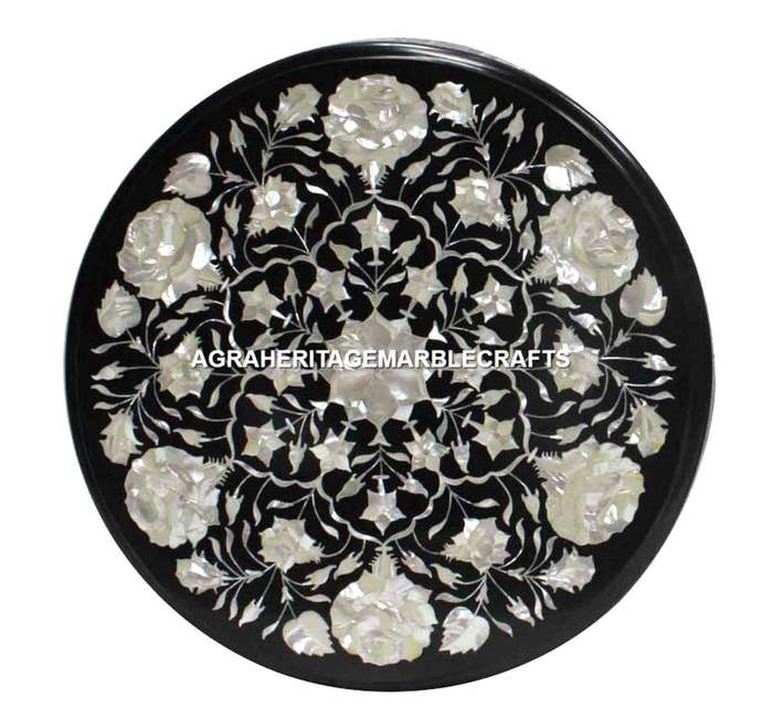 """Black Marble Round Coffee Center Kitchen Table Top 18"""" Mother of Pearl Inlay"""