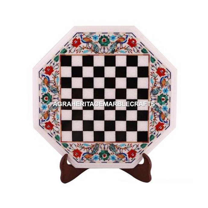White Marble Chess Coffee Table Top Peacock Floral Inlay Marquetry Art Chess