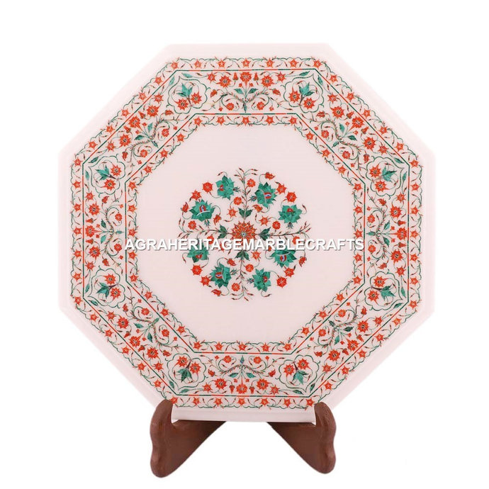 Marble Coffee Outdoor Stand Table Top Marquetry Hakik Malachite Inlay Art