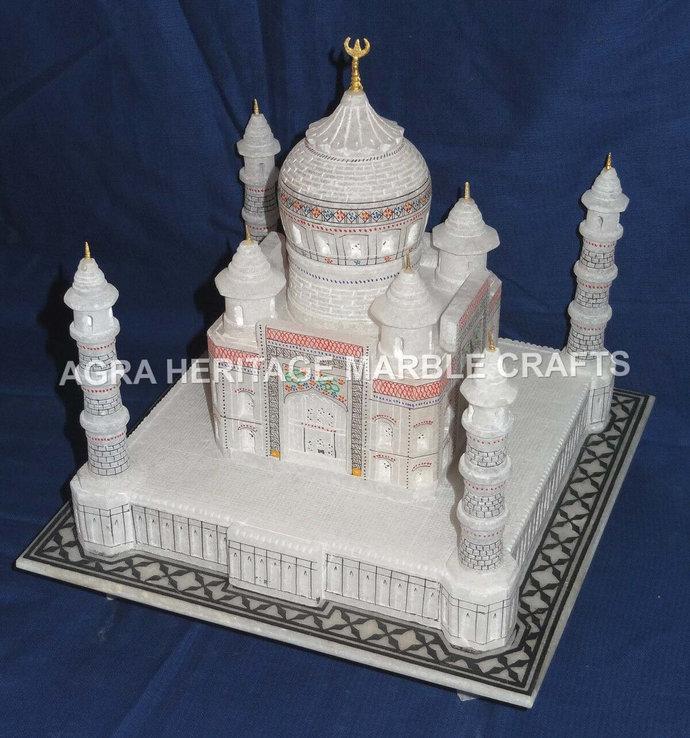 "Marble White Taj Mahal Replica 9"" Statue Handmade Art Home Showpiece Gift Living"