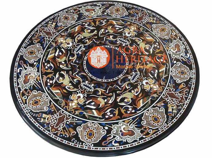 Pietra Dura Marble Restaurant Dining Table Top Hard Stone Inlay Design Living