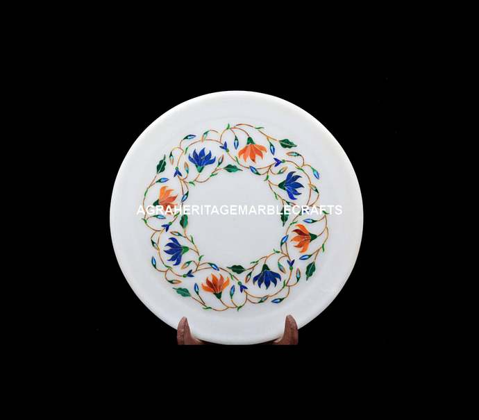 "Marble Handicraft Round Serving Plate 9"" Lapis Hakik Inlay Floral Arts Kitchen"