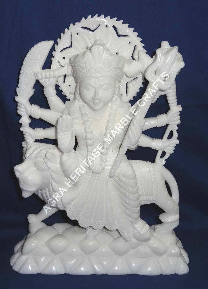 """White Marble Goddess Maa Durga Mata Idol Handmade Statue 14"""" Religious Hindu"""