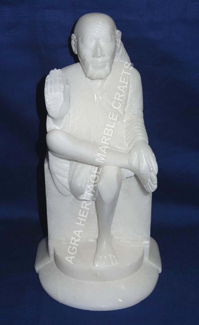 "White Marble Shirdi Sai Baba Statue 9"" Sculpture Handmade Art Home Temple"