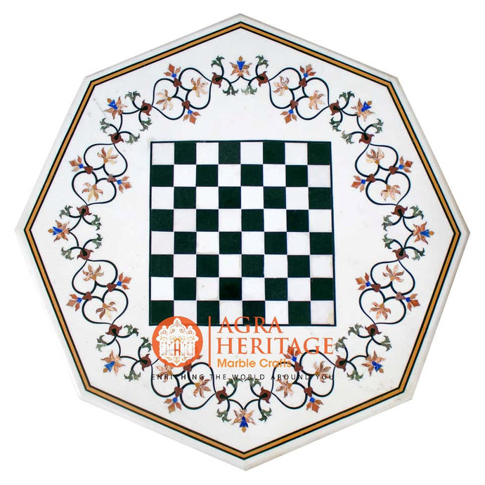 White Marble Chess Coffee Table Top Floral Marquetry Arts Playroom Interior
