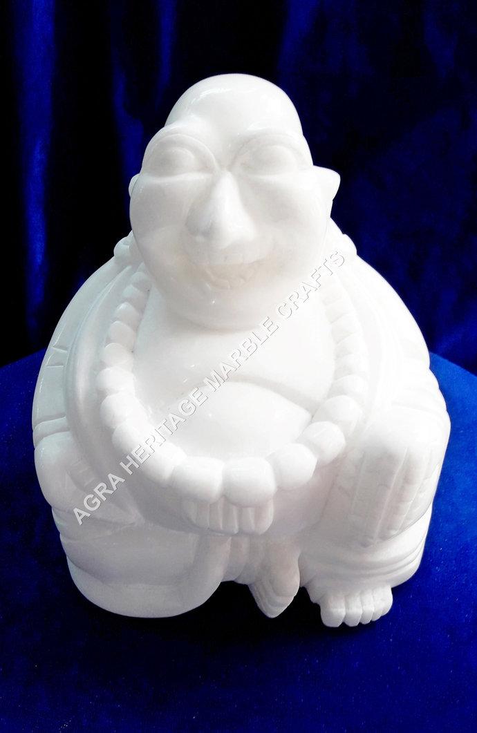 "White Marble Laughing Buddha 4"" Statue Sign of Happiness Handmade Art Home"