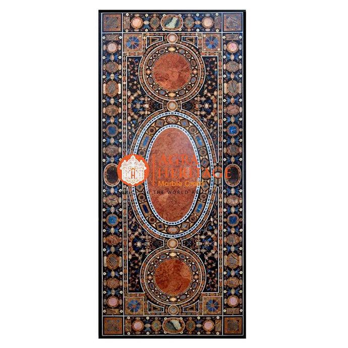 Rectangular Pietra Dura Marble Big Dining Table Top Mosaic Inlay Hard Stone