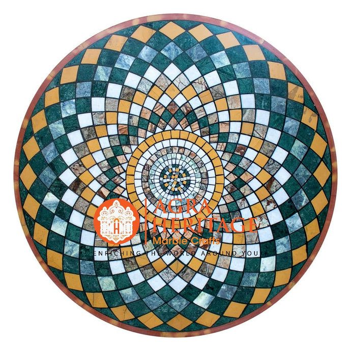 Mosaic Geometric Marble Round Coffee Dining Table Top Pietra Dura Inlay