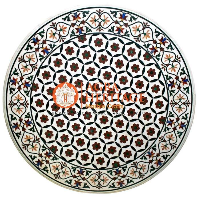 White Marble Round Dining Table Top Stunning Inlay Handmade Marquetry Floral Art