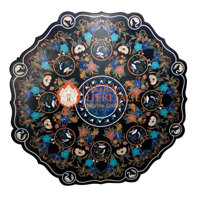 Marble Dining Octagonal Table Top Lapis Lazuli Turquoise Inlay Stunning Design