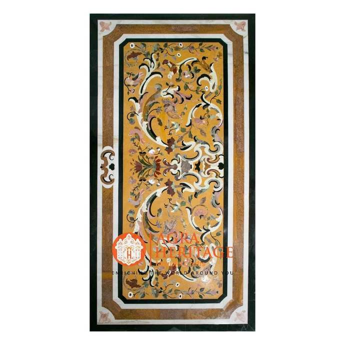 Marble Dining Outdoor Table Top Marquetry Inlay Design Restaurant Center