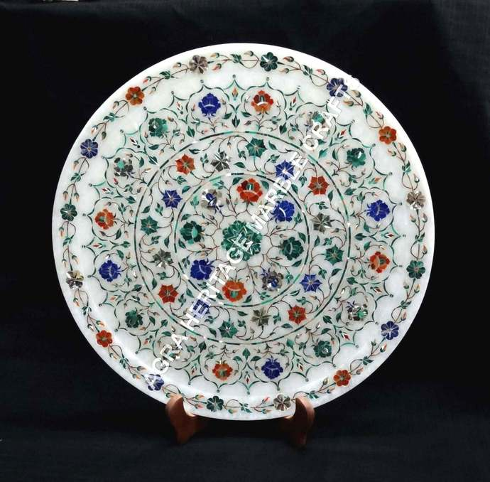"""White Round Marble Serving 15"""" Plate Multi Inlay Gemstone Floral Marquetry Arts"""