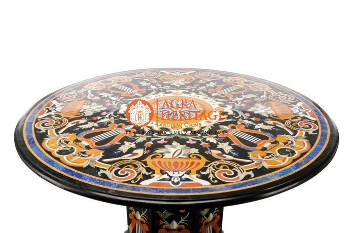 Marble Dining Restaurant Stand Table Top Italian Pietra Dura Inlay Design