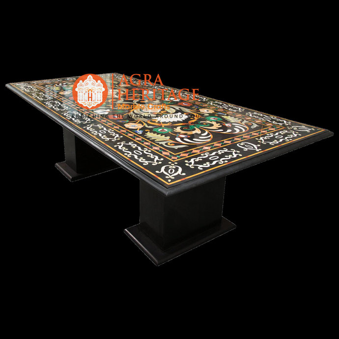 """Marble Large 6'x3' Dining Table Top With Two Stand 29"""" Inch Tall Stunning Inlay"""