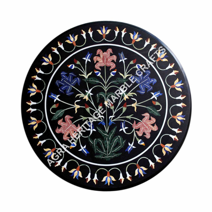 Marble Coffee Kitchen Table Top Marquetry Stunning Inlay Floral Design Wedding