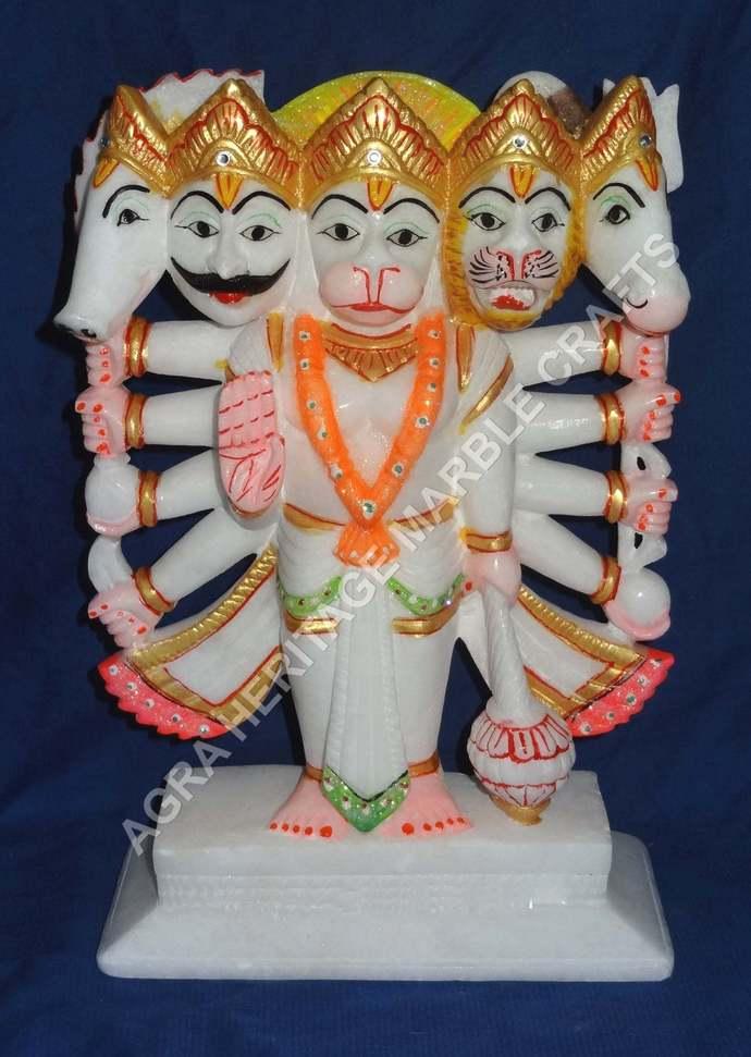 "10"" Panchmukhi Hanuman Marble Statue Hand Painted Art Religious Gift Home Temple"