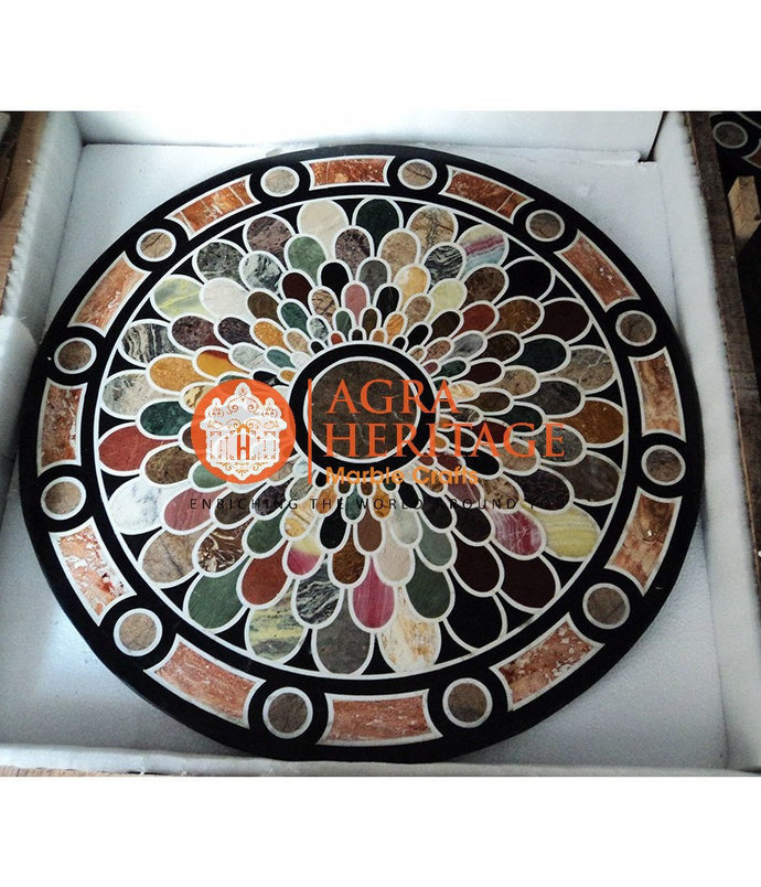 Round Marble Dining Table Top Handmade Mosaic Inlay Design Outdoor Furniture