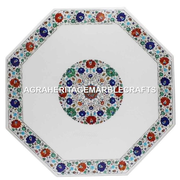 Handicraft Multi Floral Inlay Arts White Marble Dining Center Table Top