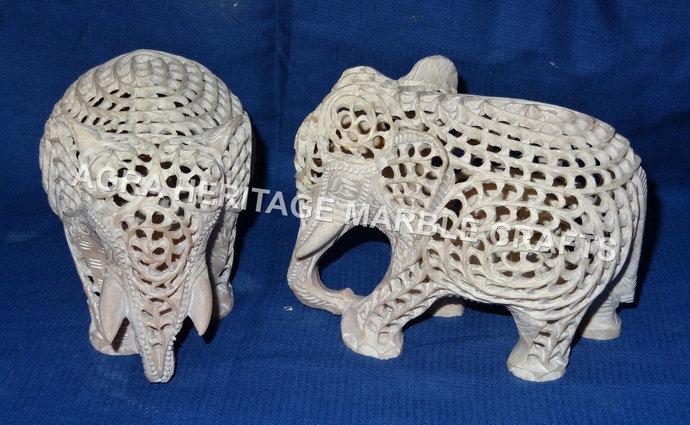 "3.5"" Marble Stone Elephant Pair Beautiful Statue Handmade Filigree Design Good"