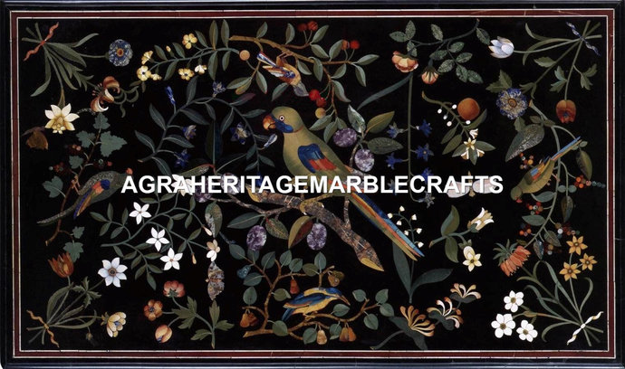 Black Marble Center Dining Conference Table Top Parrot Floral Inlay Design