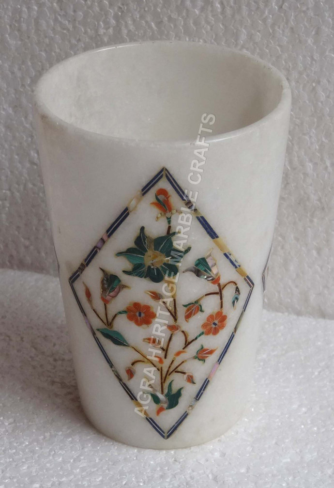 """8"""" White Marble Wine Glass Multi Inlay Floral Design Home Drinkware Decorative"""