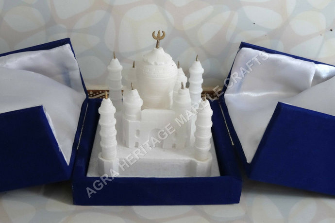 "White Marble Wonderful Taj Mahal Miniature 4"" Statue Handmade Tajmahal Love Gift"