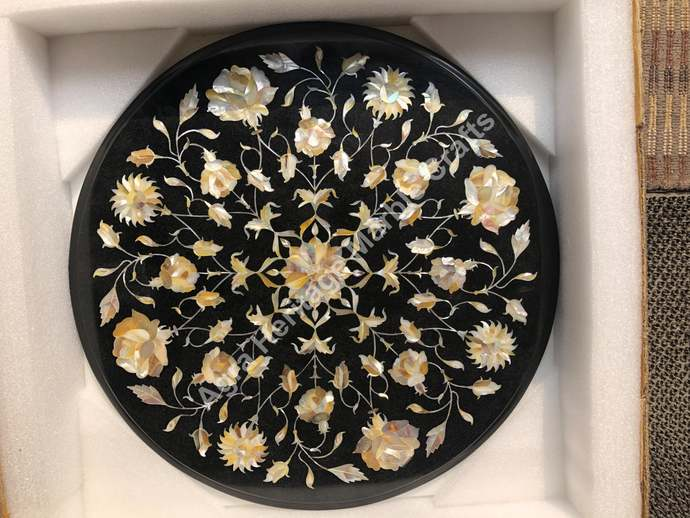 Black Round Marble Coffee Center Bedroom Table Top Mother of Pearl Inlay Floral