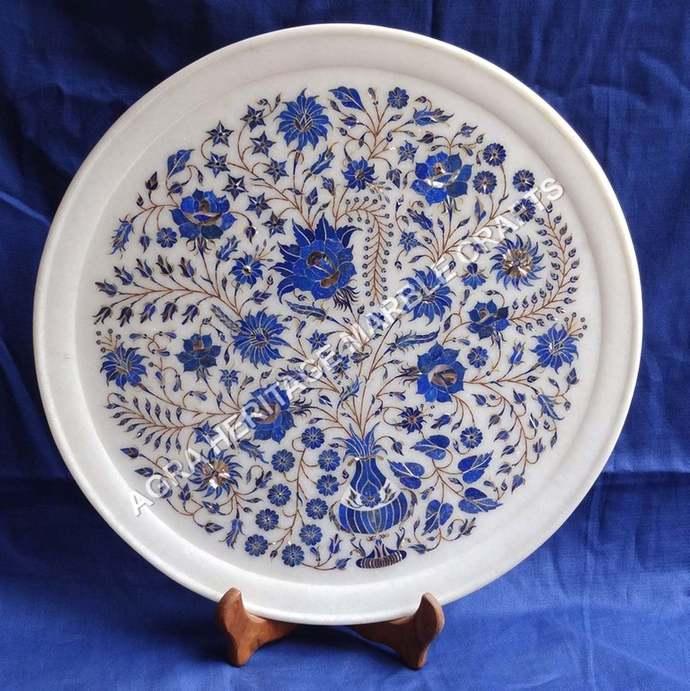 "15"" Makrana White Marble Serving Plate Lapis Lazuli Precious Inlaid Kitchen"