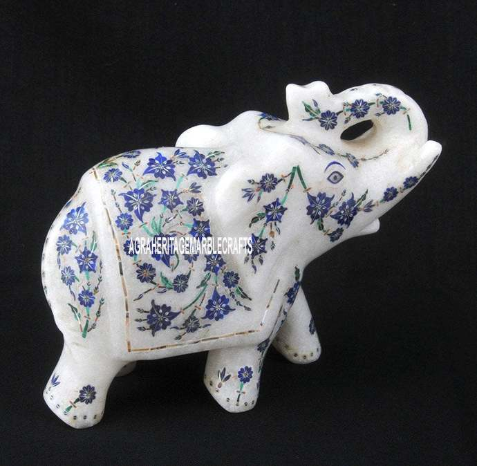 White Marble Trunk Up Elephant Statue Lapis Turquoise Inlay Floral Art